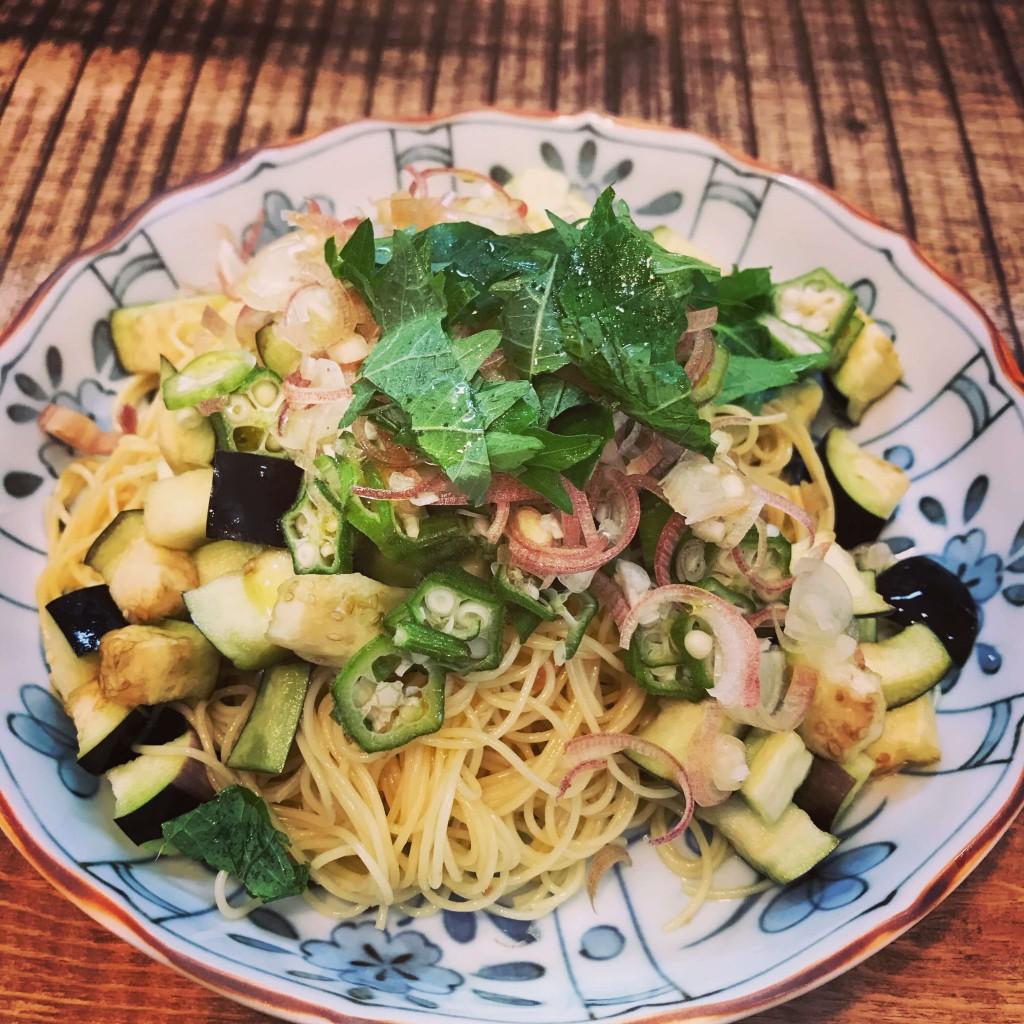 梅と夏野菜の冷製パスタ
